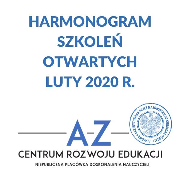 Harmonogram szkoleń otwartych w lutym 2020 r.