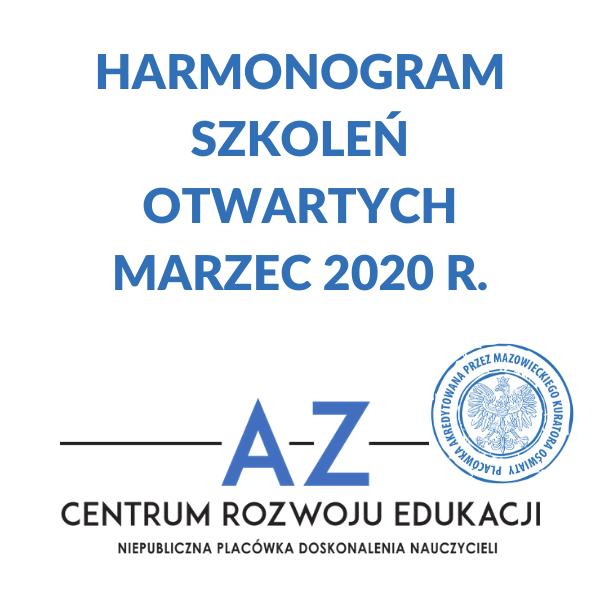 Harmonogram szkoleń w marcu 2020 r.